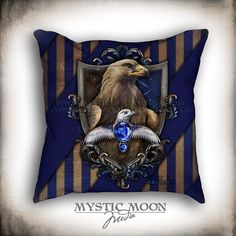 Wisdom Double-Sided Throw Pillow with Insert. Fan Art inspired by Harry Potter. Harry Potter Pillow, Pillow Inserts, Pillow Covers, Mystic Moon, Moon Witch, Raven Art, Goblin King, Nerd Gifts, Sorting Hat