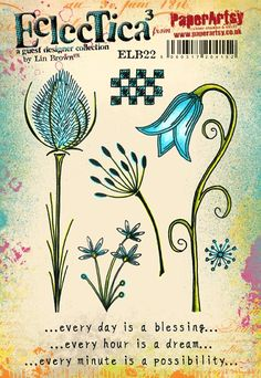 Paper Artsy - Eclectica Cling Mounted Rubber Stamps - Lin Brown Set 22