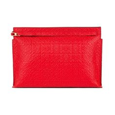 LOEWE T Pouch Repeat Primary Red ($650) ❤ liked on Polyvore featuring bags, handbags, clutches, red, loewe, red clutches, loewe purse, pouch handbags and zipper purse