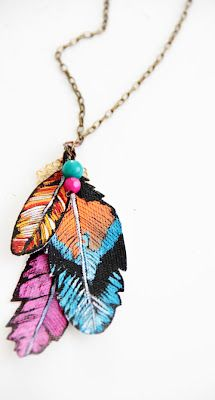 faux feathers necklace.     So cute, and a little varnish (or something) on the feathers would make them really durable.