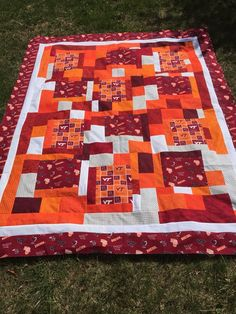 Your place to buy and sell all things handmade Picnic Blanket, Outdoor Blanket, Tech T Shirts, Virginia Tech, Shirt Quilt, Custom Quilts, Quilt Making, Graduation Gifts, Dorm