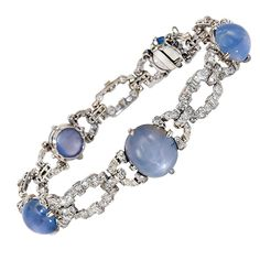 Art Deco Diamond and Star Sapphire Bracelet