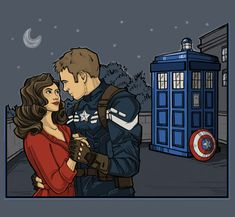 Captain America with TARDIS Back for that Dance Shirt
