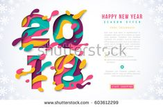 2018 Happy New Year banner template with abstract paper cut shapes. Vector illustration. Colorful 3D carving art for flyers, posters, brochure or voucher discount.