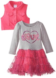 Nannette Little Girls' Toddler Long Sleeve Tutu Dress With Sparkle Love Bodice And Knit Vest, Pink/Grey, 4T. Baby girl sizes come with a diaper cover.