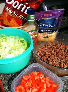 Taco Salad, with Doritos! --- BEST salad ever. Great anytime so glad people have finally figured out how delish this shiz is for real hahaha loved it all my life