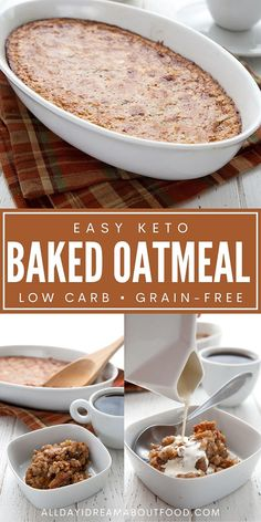The perfect keto breakfast for chilly mornings! This baked keto oatmeal is hearty and delicious, and doesn't contain a single grain of oats. Sugar-free! Baked Oatmeal, Keto Oatmeal, Oatmeal Recipes, Low Carb Breakfast, Breakfast Recipes, Breakfast Bake, Brunch Recipes, Low Carb Recipes, Low Carb Keto