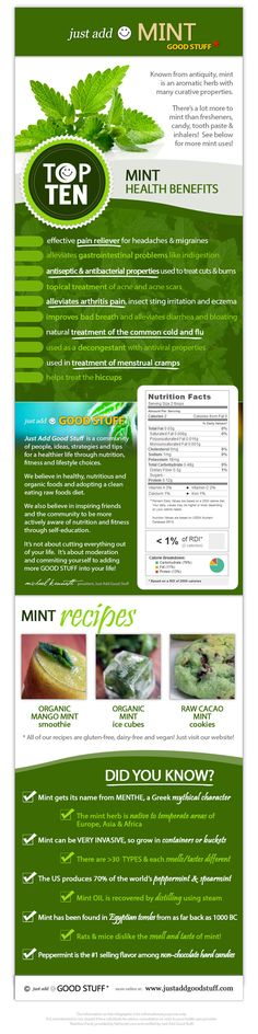 HEALTH BENEFITS OF MINT > Nutritional Data, Interesting Facts & Recipes on our Just Add Mint Infographic! | Just Add Good Stuff