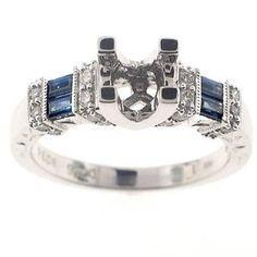 Classic 14k White Gold Genuine Blue Sapphires & Diamond Semi-Mount Engagement Ring - Size 6.5