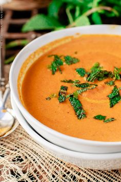 Prefect any time of the year! This easy roasted carrot soup packs flavor from Mediterranean spices, garlic, fresh ginger and a garnish of fresh mint!