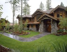 Exterior, 3/4 view eastern elevation, Twin Pines Lodge, Iron Horse Properties, Old World Cabinet Co.Whitefish, MT