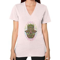 Hamsa Hand Amulet Psychedelic V-Neck (on woman)