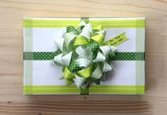 green washi tape gift wrap