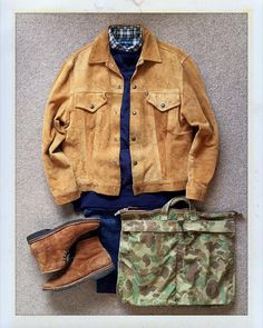 Today's Outfit. Suede Jacket Sweat Shirts Check BD-Shirt Canvas Back Pack snuff suede Daily Fashion, Mens Fashion, Fashion Outfits, Autumn Clothes, Duffle Coat, Outfit Grid, Timeless Fashion, Classic Fashion, Twill Pants