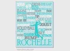 Volleyball Typography Art Print, Perfect for Girl's Room Art, You Choose the Colors, Makes a Great Gift for any Volleyball Player in aqua and grey