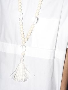 BLEACHED MEACHED MALA NECKLACE, WHITE