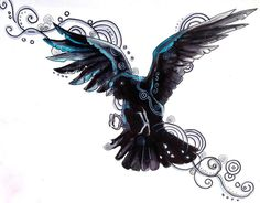 This would be perfect if the blue was purple!!!! Raven Tattoo Design by *Lucky978 on deviantART