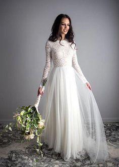 2dbc90073234 Long Sleeve Wedding Dress Scoop Back Wedding Dress Wear Your  diywedding  Long Sleeve Wedding Dress