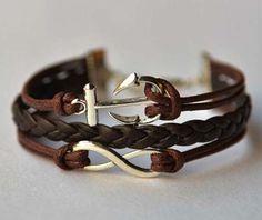 ancient silver infinity bracelets anchor bracelet by Carlydiy, $3.99