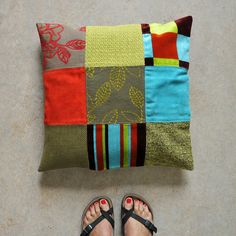 Pillow Cover 19.7 Colorful patchwork Linen back by stiksel on Etsy, $62.50