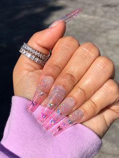 Long Square Acrylic Nails, French Acrylic Nails, Pink Acrylic Nails, Pink Nails, Clear Glitter Nails, Glittery Nails, Glue On Nails, Hippie Nails, Glow Nails