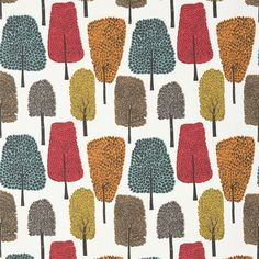 Scion Cedar 120356 (Tangerine/Sulphur/Chilli) fabric from the Levande collection, priced per metre. Naively drawn trees and leaves in trend-inspired colour palettes