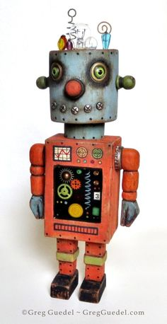 Vintage tin space toy inspired robot by Greg Guedel ~ www.gregguedel.com