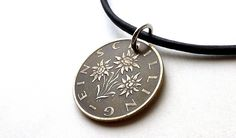 Austrian, Coin necklace, Leather necklace, Vintage necklace, Edelweiss jewelry, Flower jewelry, Coin jewelry, Vintage coin, Pendant, 1981 by CoinStories on Etsy