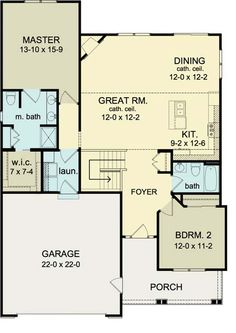 First Floor Plan of Ranch House Plan 54057