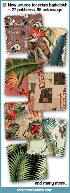 - New source for retro barkcloth – 27 patterns, 68 colorways, from Diamondhead Fabrics Diamondhead Fabrics offers 27 Big Kahuna Fabrics retro barkcloth designs in 68 colourways Hawaiian Homes, Hawaiian Decor, Tropical Fabric, Tropical Decor, Tropical Chairs, Tropical Interior, 1950s Decor, Retro Home Decor, Beach Interior Design