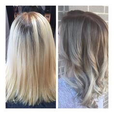 """Bye-bye hard line of regrowth. Hello beautiful deep roots! Who says being blonde has to be high maintenance?! Hand painted color by @colorme_cailey …"""