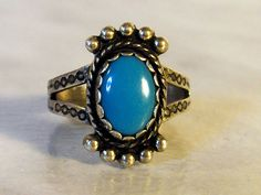 Sterling Silver Turquoise Ring    Southwest Setting     Size 6      Etched Navajo Symbols by GemstoneCowboy on Etsy