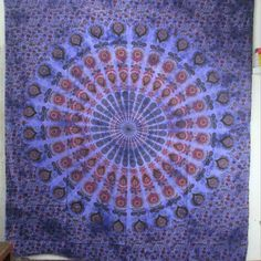 "See History of Indian Mandala Tapestries Queen  size :220"" X 240"" cm (approx)    Fabric: 100% Cotton Fabric, Screen Printed Design, Vegetable Colors."