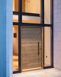 Modern wood front door exterior doors com wooden glass mid century fro Timber Front Door, Wooden Front Doors, Modern Front Door, Front Door Entrance, Front Door Design, The Doors, Glass Front Door, Entry Doors, Glass Doors