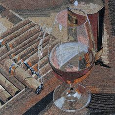 Wine and Cigars in Marble Mosaics | Mosaic Art - Marble Tiles | Frame this Mosaic and Hang it on your Wall | Mosaic Mural from #Mozaico