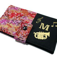 ★ reserve ★ porte-chéquier cartes personnalisé tout en un en tissu japonais et flocages musique