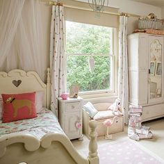 Bedroom Ideas: Shabby Chic Bedroom with Rose Patterned Bedlinen also Reclaimed Wooden Cupboard plus Pink Small Window Seating and Pink Cushions With Dog Picture
