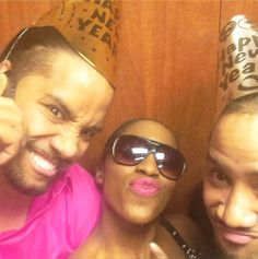 Trinity McCray (Naomi) celebrates the new year with fiance Jon Fatu (Jimmy Uso) & Josh Fatu (Jey Uso)