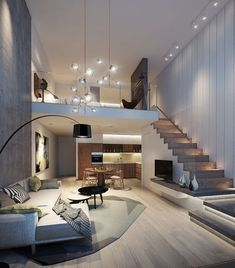 Loft House Design, Home Stairs Design, Small House Interior Design, Dream House Interior, Modern House Design, Modern Stairs Design, Modern House Facades, Modern Lofts, Modern Architecture House