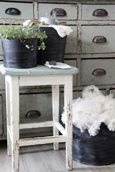 Vintage Apothecary Cabinet & Rustic Stool.