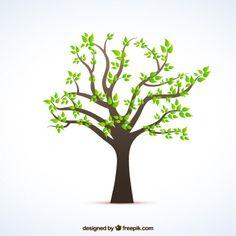 Árvore com folhas verdes Vetor grátis