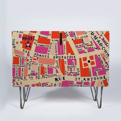 Holli Zollinger Paris Map Pink Credenza | DENY Designs Home Accessories