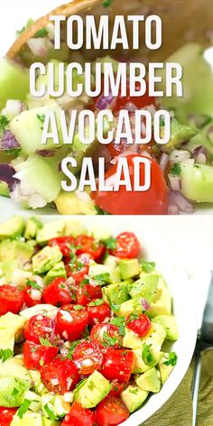 One of my FAVORITE summer salads – Tomato cucumber avocado salad. So colorful, flavorful and easy too! One of my FAVORITE summer salads – Tomato cucumber avocado salad. So colorful, flavorful and easy too! Cucumber Avocado Salad, Avocado Salad Recipes, Best Salad Recipes, Chicken Salad Recipes, Diet Recipes, Chicken Soup, Paleo Meals, Paleo Food, Spinach Salad