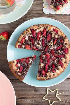"Foto ""pinnata"" dalla nostra lettrice Chiarapassions Torta cookie senza uova, senza burro, senza glutine, senza latte si prepara in 2 minuti ed è ottima! Recipe chocolate chip cookie cake vegan"