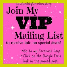 If you LOVE LuLaRoe head over to my facebook group and join my VIP mailing list so you won't miss any special sales! If you don't know what LuLaRoe is head over to my Facebook group and check out the LuLaRoe Basics photo album and feel free to message me with any questions! Facebook.com/groups/lularoehollyfariasrosenberg