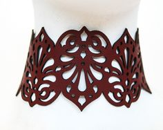 "Laser Cut Leather Jewellery ""Victoriana"" Collection by Lydia Wall Millinery 