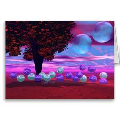 Bubble Garden - Rose and Azure Wisdom Greeting Cards #card #tree #futuristic