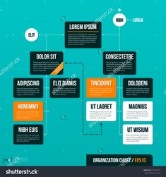 Modern Organizational Chart Template On Turquoise Background Eps10