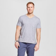 Men's Big & Tall V-Neck Jersey T-Shirt Gray 3XB Tall - Merona