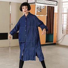 Blue Denim Boyfriend Style Shirt Big Size Casual Tops Women Clothes S4101